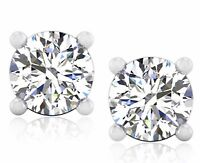 Solitaire Round Cut 4.00Ct Diamond Earrings Studs BIS 14K White Gold Screw Back.