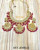 Bollywood Gold Tone Kundan Choker Style Bridal Necklace Earrings Jewelry set