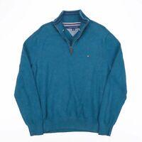 Vintage TOMMY HILFIGER Blue 1/4 Zip Cotton Pullover Jumper Men's Size Large