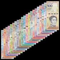 Venezuela Full Set 21 PCS, 2 - 100,000 Bolivares, 2-500 Soberanos 2007-2019,UNC