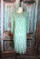 Laurence Kazar Beaded and Sequin Dress Light Mint Green Vintage Size S Small