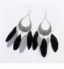 1 Long Bohemian Pair of Feather Tassels Dangle Earrings - Black & Grey # 558