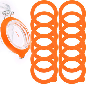 12 Pack Silicone Gasket Airtight Seals Rubber Rings For Mason Jar Lids Orange