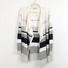 NEW Ann Taylor LOFT Stripe Open Front Cascading Cardigan Size Small Wool Blend