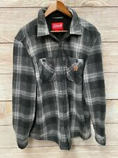 Coleman Lined Shirt Jacket Mens Large Grey Plaid Fleece Fuzzy Lined Coat New