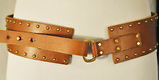BoHo Hippie CHIC ABERCROMBIE & FITCH Brown Leather Metal Studded Belt XS/S