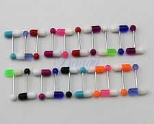 Lot of 20 Colorful Pills Tongue Ring Assorted 14G Piercing Barbells JW722