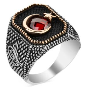 Solid 925 Sterling Silver Tughra Design Garnet Stone Crescent Moon Star Men Ring