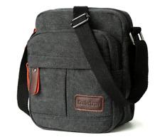 Men Shoulder Bag Small Retro Canvas Satchel Zipped Unisex Lightweight Long Strap