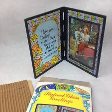 NOS VTG Stained Glass Photo Picture Frame Love Remembrance 70s Spiral Starecase