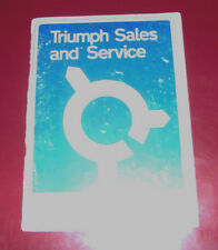 Triumph Sales and Service Booklet. 1970 UK