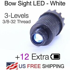 Compound Bow Sight Light White LED 3-Levels Adjustable 3/8-32 Thread 12 Battery