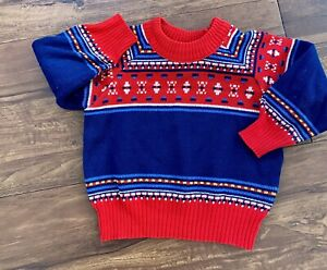 Vintage 1970s Boys Blue & Red Patterned Jumper 2-3 Years
