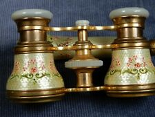FINE ANTIQUE PAIR OF FRENCH OPERA GLASSES WITH GUILLOCHE FLORAL ENAMEL & TELESCO