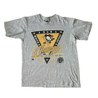 Vintage 1991 Pittsburgh Penguins T Shirt Youth Size M NHL Stanley Cup Champions