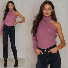 Autumn and winter new women's off-shoulder single-sleeve twisted turtleneck swea