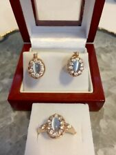 14k (585)solid Rose gold Blue Opalite/Cubic Zirconias ring and earrings set