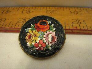 Vintage Millefiori Italy Floral Brooch Pin Italian Art Glass Micro Mosaic