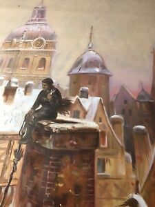 Chimney sweep 40x30in  oil painting on canvas. London artwork Victorian decor