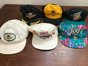 MENS VINTAGE LOT OF 6 INDY INDIANAPOLIS 500 SNAPBACK 90'S 80'S HATS ONE SIZE