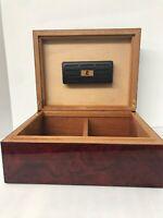 "Humidor Cigar Box Burl Wood Italy Brass Trim Fine Quality 11.75""x9""x5"""