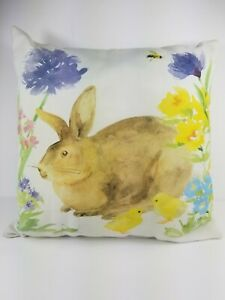 """Climaweave Toss Pillow Bunny Rabbit Watercolor M. Collins 18"""""""