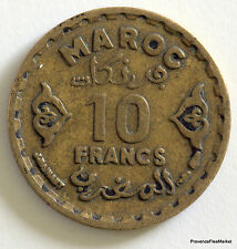 MAROC  EMPIRE CHERIFIEN 1371 10 Francs BRONZE   circulé  Aca17