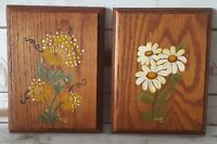 Vintage 1981 Hand Painted Wood Plaques Set of Two (2) Floral Wall Hangings