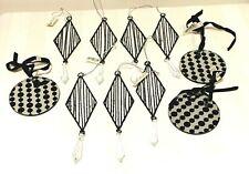 John Lewis x 10 Black & Silver Sparkly Diamond Round Christmas Tree Decorations