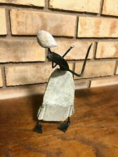 OLD UNIQUE ABSTRACT MID CENTURY MODERN CUBIST STONE IRON FIGURAL SCULPTURE WOMEN