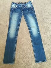 NWT ROCK REVIVAL JEANS LAURA STRAIGHT Distressed Low Rise  Size 25 32 L