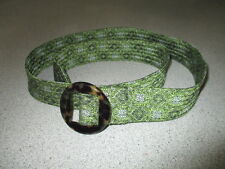 J Crew BEAUTIFUL Women's Belt Green Silk S/M Excellent  pre owned condition