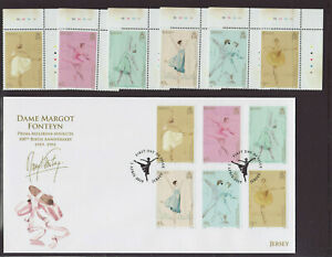Jersey 2019 FDC - Dame Margot Fonteyn - Prima Ballerina - FDC and set 7 stamps