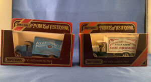 2 Matchbox Models Of Yesteryear Diecast Y-30 1920 Model AC Mack Acorn/Artic Ice