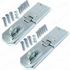 2 x STRONG 150mm HASP+STAPLE FIXING FLEXIBLE HINGE Gate/Garage/Shed/Door Secure
