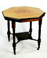 Antique Victorian Inlaid Beech Occasional Table [5744]