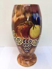 More details for vintage james fryer oldcourt ware, hand painted fruits 10.5'' lustre vase 1950's