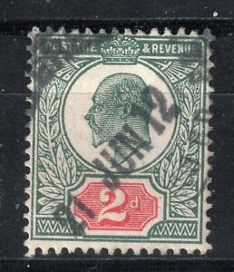GB = E7 era. Somerset House 1911/12 2d Deep Green & Red (Shades). Used. (0461)