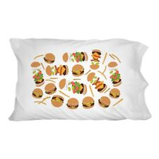 Hamburger Cheeseburger Pattern with Fries and Bacon Novelty Bedding Pillowcase