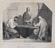 Lithographie XIX ème - Jésus et les disciples d'Emmaüs - Religieux