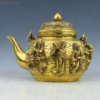 Old Chinese  handmade brass statue Eight Immortals teapot wine pot flagon