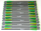 """20"""" Carbon Crossbow Bolts Green/Yellow Parabolic Arrows Qty 24 Weight Sorted"""