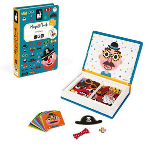 Janod Magnetic Crazy Faces - Children's Boys Themed Blue Magnet Activity Book