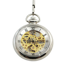 Pocket Watch Open Glass Moving Mechanical Gears See-Through Viewing Window