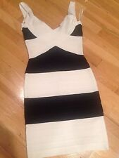 Herve Leger black & white bandage dress, Sz XS