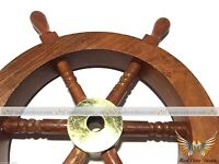 """Christmas Nautical  Deluxe Class Wood and Brass Decorative 9"""" Ship Wheel"""