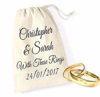 Personalised 5 Bride Groom Wedding Ring Bands Pouch Bag Drawstring Keepsake
