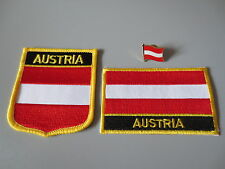 Set of  Embroidery Flag Patch and Badge shield Patch and Lapel pin AUSTRIA