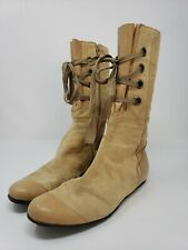 Peter Kent Lace Up Flat Ankle Boots Beige Suede Size. 9.5 to 10 US Pre-owned