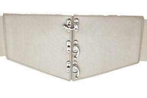 Women Faux Leather Elastic Champagne Beige Wide Corset Belt Plus Size L XL XXL